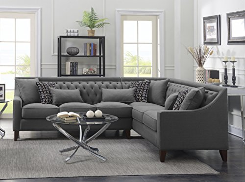 Iconic Home Chic Home Aberdeen Linen Tufted Down Mix Modern Contemporary Right Facing Sectional Sofa, Grey,