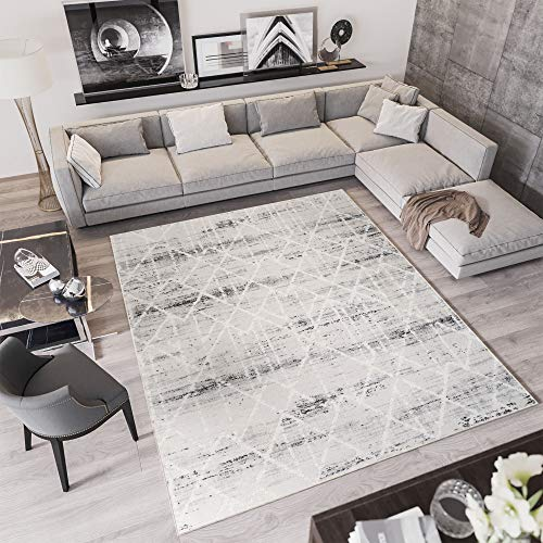 Tapiso Troya Alfombra de Salón Sala Juvenil Diseño Moderno Gris Blanco Geométrico Rombos Muy Cálida Suave 120 x 170 cm