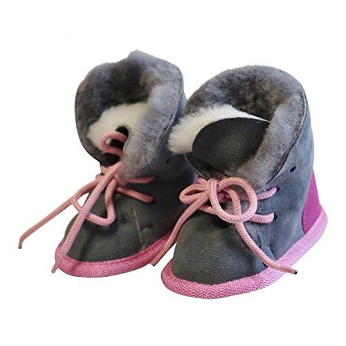 Hollert Leather Baby Lammfellschuhe Bärchen Pink/Grau aus 100% Merino Schaffell - geeignet als Kinder Hausschuhe, Puschen & Krabbelschuhe Größe EUR 22/23
