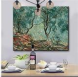 SKYTY Claude Monet DIY Pianting Al Óleo por Números Dibujar Un Cuadro Famoso Arboleda Verde Oliva Pintura Numerada DIY Pintura Clásica del Paisaje Enmarcada 40X50cm