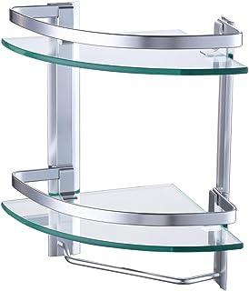 KES Aluminio Templado Estante de Vidrio Esquina Extra Grueso Double Deck Con Barra de Toalla Baño Montaje en Pared Plata Arena Rociado, A4123B