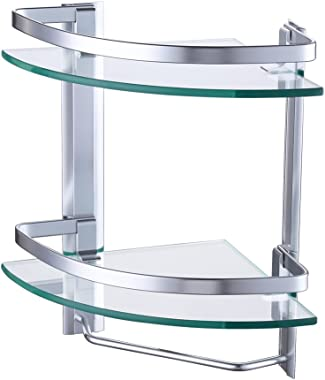 KES Aluminum Bathroom 2-Tier Glass Corner Shelf with Towel Bar Wall Mounted Extra Thick Tempered Glass Silver Sand Sprayed, A