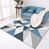 Alfombras Bebes Habitacion azul Salón de alfombra gris azul patrón de triángulo alfombra suave estilo moderno Alfombras Para Exterior El 160X230CM Alfombras Habitacion Infantil 5ft 3''X7ft 6.6''