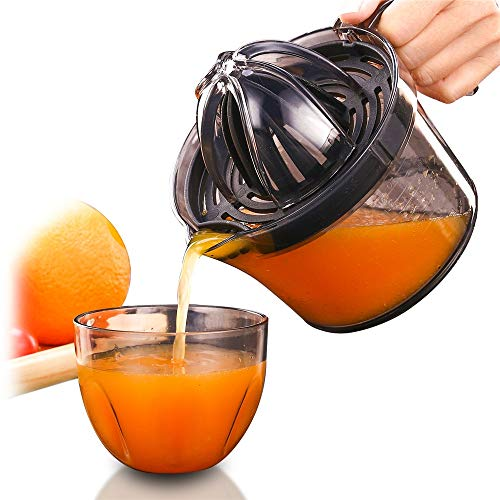 Exprimidor de cítricos naranja limón manual squeezer mano antideslizante tapa rotación escariador cal Press17 onzas capacidad transparente negro