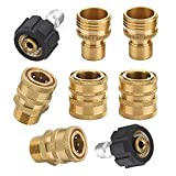 Startool 8pcs Pressure Washer Adapter Kit,Garden Hose Quick Connect Fittings,M22 Swivel to 3/8'' Quick Connect, 3/4' to Quick Release