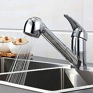 TANBURO Grifo de cocina, Grifo Cocina Extraible con Caño Giratorio de 2 Modos, Mezclador de cocina giratorio de 360 °, ajustable en agua fría y caliente