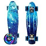 Laiozyen Skateboard Skateboard pour Enfants, Adolescents et Adultes Deck en Plastique Skate Board avec Roues Lumineuses LED, Funboard Wheel Funboard pour débutants (Color6)