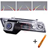 HDMEU Vehicle Reverse Camera with Track Ruler Line Steering Wheel Moving Rear View Backup Trajectory Camera Parking Assist System, Night Vision CCD for Excelle
