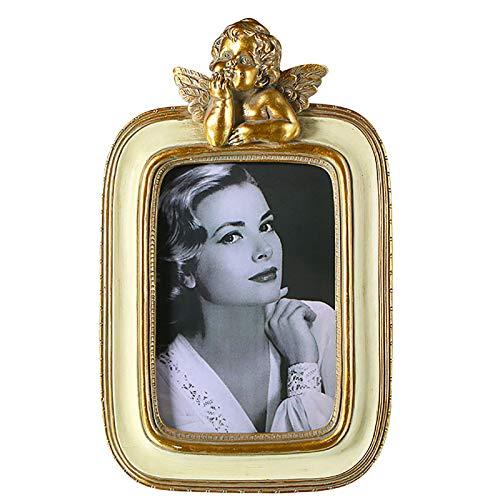 DAQIAO Bilderrahmen 10 X 15 cm Fotorahmen aus Harz Shabby chic Landhaus Stil Vintage Golden