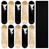 JFJ Maple Skateboard Decks Double Tail Skateboard Light Decks Free Skateboard Grip Tape (Black, 10 PCS)