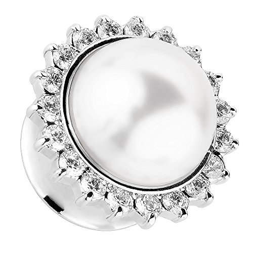 Piersando Ohr Plug Piercing Flesh Tunnel Ohrpiercing Edelstahl Single Flared Silber mit Vintage Tribal Ethno Perle 14mm