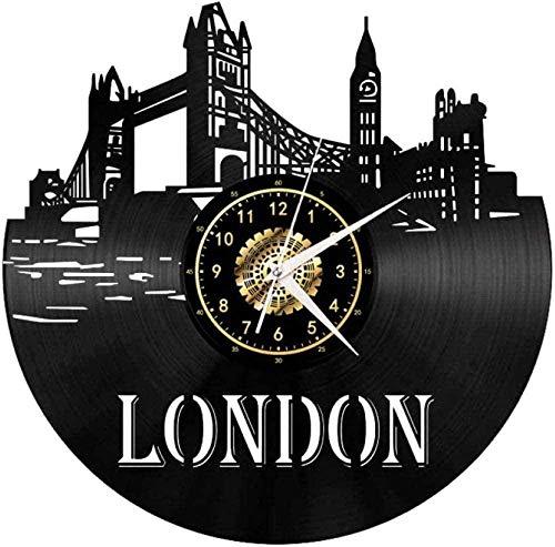 KDBWYC Reloj de Pared London City Series Landmark Landscape Reloj de Vinilo Reloj de Pared de Vinilo Creativo Decoración de Sala de Estar