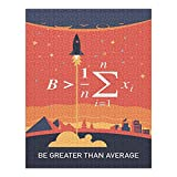 Equations and Emojis Collection, Rocket, Be Greater Than Average (1000 Piece Premium Puzzle, Made in USA)