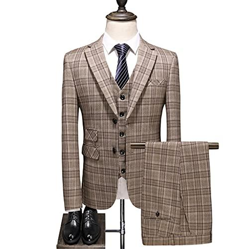 LEPSJGC メンズチェック柄スリムフィットバンケットスーツセット3pcsブレザーベストパンツ/男性ビジネスドレスジャケットパンツ (Color : B, Size : L code)