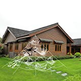 HYRIXDIRECT Outdoor Halloween Decorations Halloween Spider Decoration Triangular Mega Spider Web with Stretch Cobweb Set Party Yard Decor (with Black Spider 31.4 in) (White)