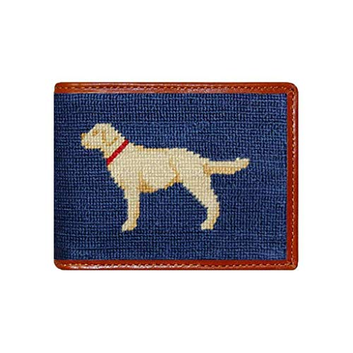 Yellow Lab Needlepoint Wallet in Blue by Smathers & Branson