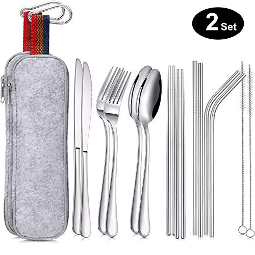 Leinuosen 16 Pieces Portable Utensils, Travel Camping Cutlery Stainless Steel Flatware Set, including Knife, Fork, Spoon, Chopsticks, Cleaning Brush, Straws, Portable Bag (2 Set)