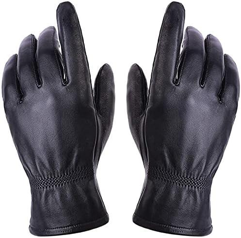 Bargain sale RSQJ Goatskin Leather Gloves Men's Ranking TOP17 Riding Warm Plus Padded Velve