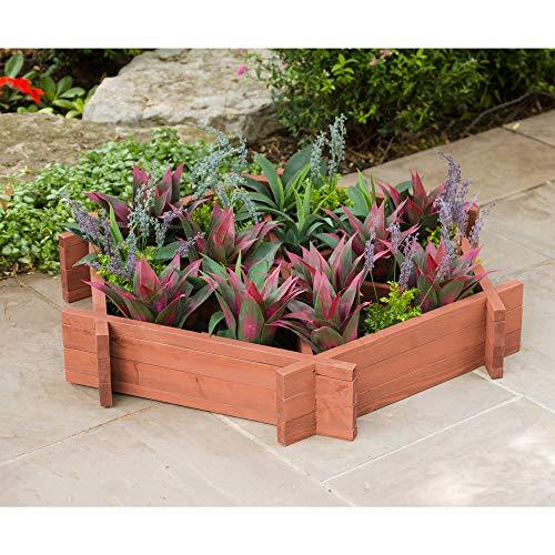 Leisure Season HGB4545 Wooden Hexagonal Planter-Brown-1 Piece-Grow...