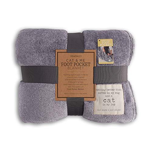 Demdaco Cat and Me Mauve Purple 60 x 70 Fleece Fabric Foot Pocket Throw Blanket