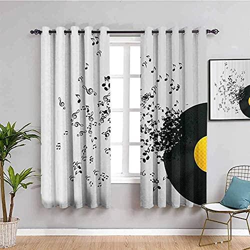 LucaSng Cortinas de Opacas - Negro Creativo Notas Cinta - 183x214 cm para Sala Cuarto Comedor Salon Cocina Habitación - 3D Impresión Digital con Ojales Aislamiento Térmico Cortinas