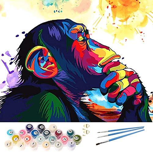 AICHUANGBAO Malen Nach Zahlen Erwachsene Anfänger Kinder mit Rahmen - Bunter Orang-Utan, DIY Ölgemälde auf Leinwand Geschenk, Acryl, Hochwertige faltenfreie Leinwand 40*50CM