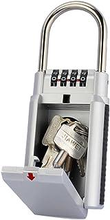 Hon&Guan キーボックス 南京錠 鍵収納ボックス ダイヤル式 4桁 大型サイズ 防犯 盗難防止 (シルバー)