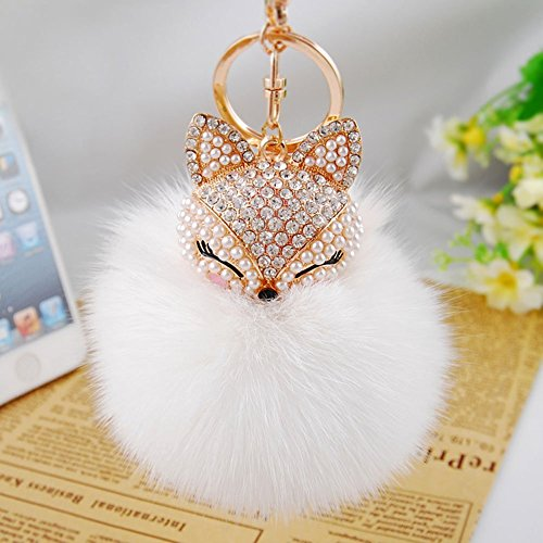 ANKKO hübsch Fox Plüsch Ball Schlüsselanhänger Schlüsselbund Auto Schlüssel Tasche Telefon Anhänger (Weiß)