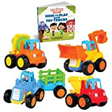 Educational Play Set for Kids Age 1, 2, 3 - Push & Pull Cars for Two Year Olds  - Storybook Toys...