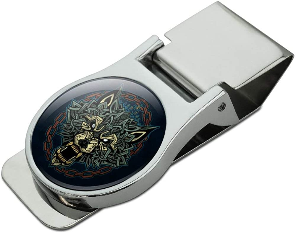 Fenrir Fierce Snarling Wolf In Chains Norse Mythology Satin Chrome Plated Metal Money Clip