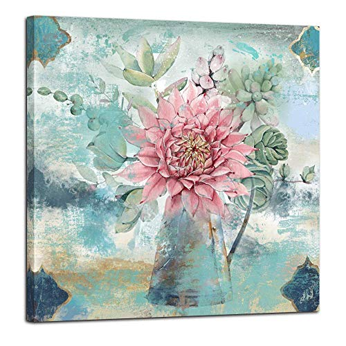 Anolyfi Pink Flower Canvas Wall Art Watercolor Picture Cactus Plants Painting Prints Framed Vintage Artwork for Bathroom Bedroom Living Room Kitchen Dinning Room Office Home Decor, 14'X14' One Panel