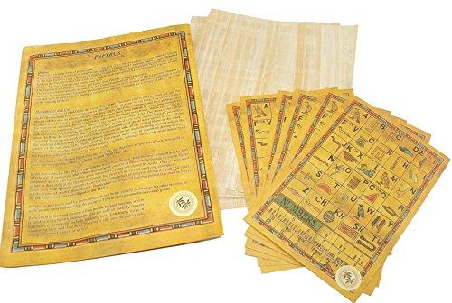 CraftsOfEgypt Papier aus ägyptischem Papyrus-Papier, 15 x 20 cm, antikes Alphabet, Papyrus-Bögen für Kunstprojekte, Scrapbooking und Schulgeschichte, ideal als Lehrhilfe Set of 25