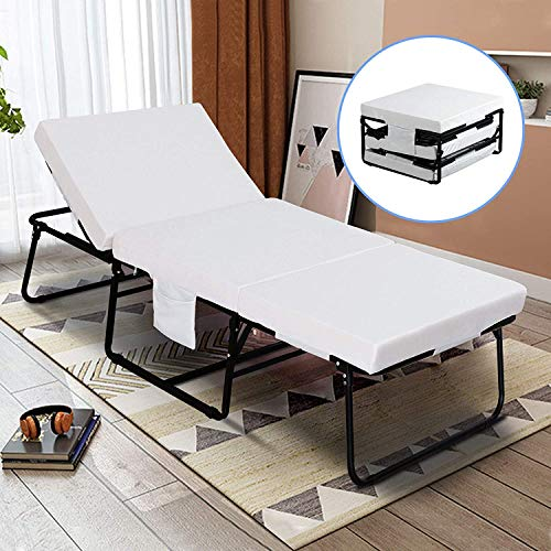 mecor Adjustable Folding Bed, Rollaway Guest Bed with Adjustable Head Incline (0°-175°), 3.2 Inch Removable Mattress & Side Pocket - Heavy Duty Portable Metal Frame - Twin Size (78' L x 31' W)