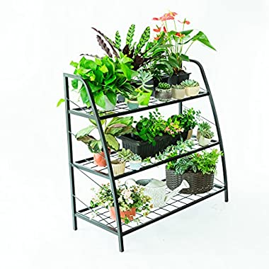 C-Hopetree Plant Stand Tiered Plant Shelf Holder for Indoor Outdoor Use, Metal Frame, Black, 3 Tier