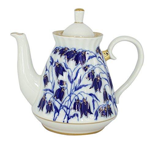 Lomonossow Porzellan 5Tassen Tee Topf 25Unzen/750Mililiter blau Glocken