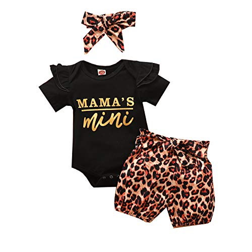 YQYJA Mamas Mini Verano Mamás Trajes Bebé Niña De Manga Corta Mameluco De Leopardo Pantalones Cortos Diadema 3PCS