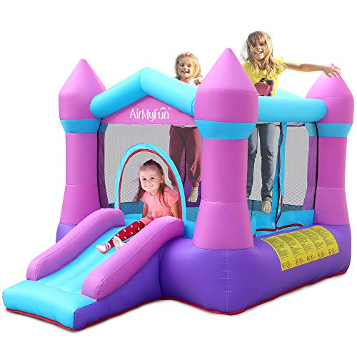 AirMyFun Inflatable Bouncer Jumping Castle - Bounce House with Slide and Safe Velcro Entrance Including 350W Blower, Bouncer Stakes, Carry Bag Indoor/Outdoor Bouncer with Double Sewn Beams, 82011B