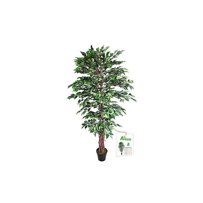 silk flower arrangements aveyas 6ft artificial ficus silk tree (72in) with plastic nursery pot, fake plant for office house farmhouse living room home decor (indoor/outdoor)