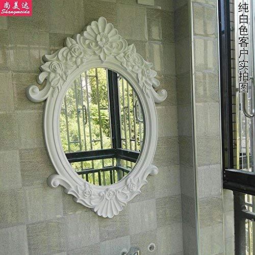ZBY Espejo de Baño Europeo, Espejo de Baño Montado en la Pared, Espejo Retro de Mesa de Lavado a Mano, Espejo de Tocador (Color: Oro Antiguo), para el Hogar/Hotel,Blanco