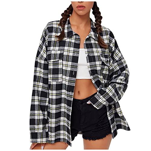 Dasongff Abrigo a cuadros para mujer, con bolsillos y botones, manga larga, gran tamaño, blusa, abrigo,...