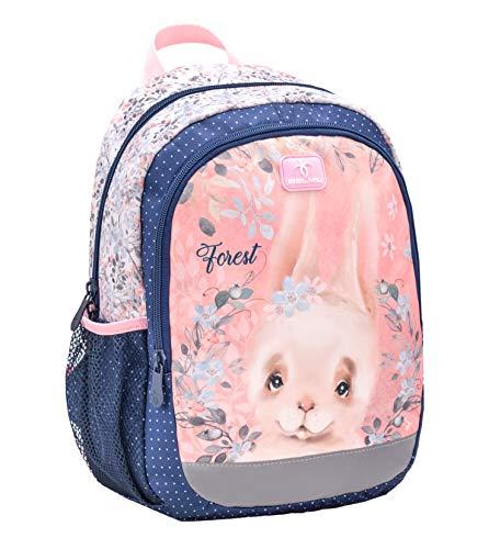 Belmil Kindergartenrucksack mit Brustgurt und Namensschild für 3-6 Jährige/Mädchen / 12 L/Krippenrucksack Kindergartentasche Kindertasche/Hase/Rosa, Blau (305-4/A Animal Forest Bunny)