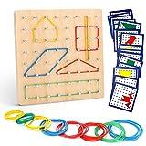 Ucradle Holz Geoboard Set Geometriebrett Montessori Spielzeug mit Aktivitäts Muster Karten und Gummi Bändern Für Kinder und Erwachsene, Form Puzzle Brett Inspirieren Feinmotorik Förderung