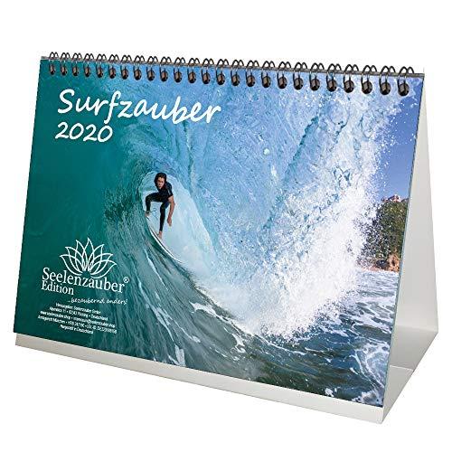 Surfzauber DIN A5 Tischkalender 2020 Surfer und surfen Geschenk-Set: Zusätzlich 1 Grußkarte und 1 Weihnachtskarte - Seelenzauber