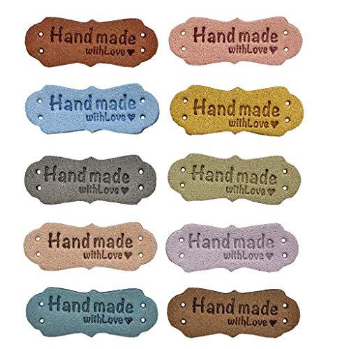 Juland 50 etichette in pelle fatta a mano, in poliuretano, per vestiti, borse, lavori di cucito etichette per vestiti rettangolari per cucito, etichette per tessitura, targhette in pelle,1,5 x 4,2 cm