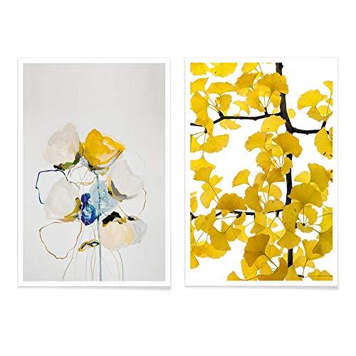 JUNIQE® Poster-Set - Gelb & Blau - Poster & Prints für stilvolle Wände - 2X 40x60