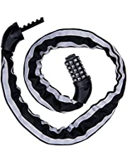 IREGRO チェーンロック 夜間反射材質 自転車ロック 5桁ダイヤル式 カギ不要 パスワード自由設定 盗難防止 全長100CM コンパクト ワイヤーロック 頑丈 ブラック (100)