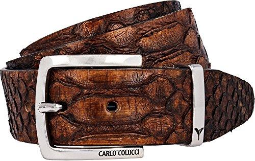 Carlo Colucci Hochwertig verarbeiteter Gürtel aus echtem Schlangenleder Cognac/Dunkelbraun 85cm