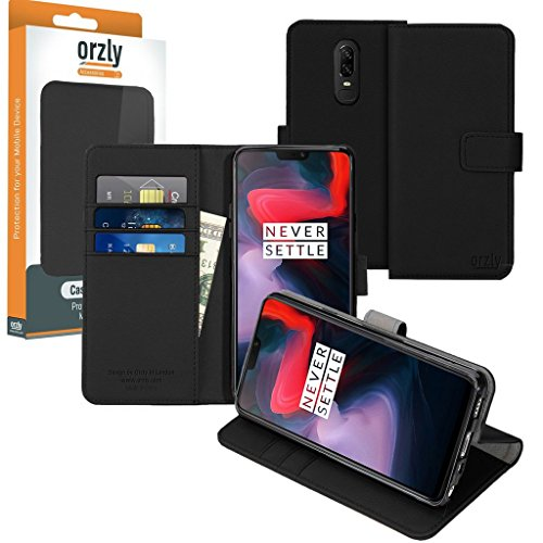 Orzly Funda OnePlus 6 Funda Multifunción para el One Plus 6 (Modelo 2018) - Multi-Functional Wallet Stand Case - Funda-Billetera con Tarjetero, Soporte Integrado y Cierre magnético en Negro