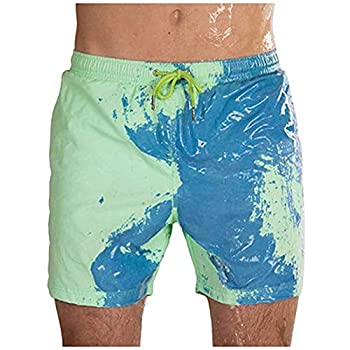 Mens Summer Short Swim Trunks - MorwebVeo Temperature-Sensitive Color-Changing Swimsuits Swimming Board Shorts for Men Bathing Suits Beachwear Green