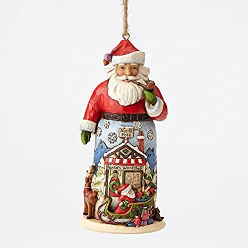 Enesco Jim Shore HWC Santa With Sleigh and Reindeer Ornament by Enesco